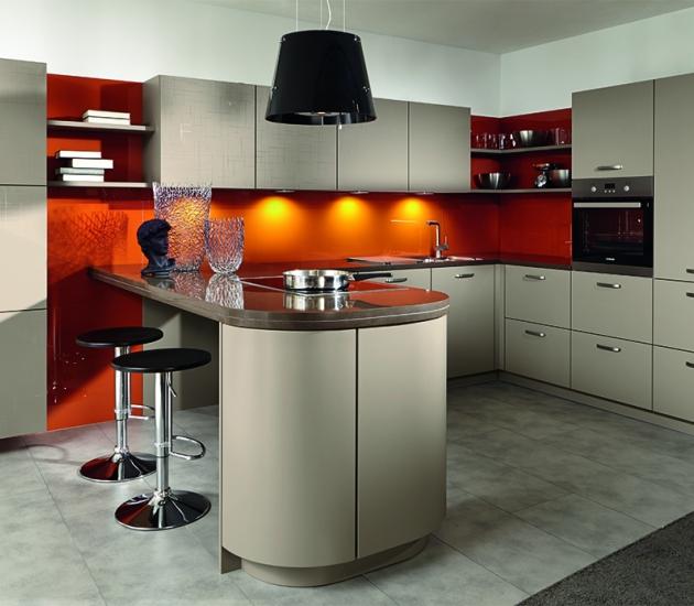 Кухонный гарнитур BEECK Küchen Sinus/Flash pebble/pebble