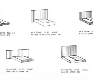 Кровать Meridiani Tuyo Stripe + Spring Base Plain