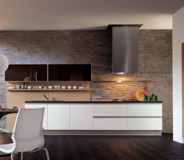 Кухонный гарнитур MK Cucine Size Laccato Lucido Rovere Sbiancato