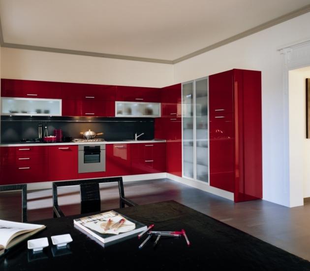 Кухонный гарнитур MK Cucine Size Laccato Lucido Rosso